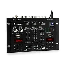 Mixer Table mixage DJ 3 canaux Bluetooth 2 x USB AUX TRS Line phono Jack - Noir