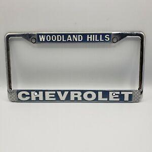 Woodland Hills Chevrolet Metal License Plate Frame Holder Silver