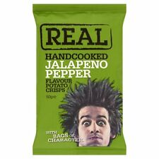 Real Handcooked Jalapeno Pepper Flavour Crisps - 9x 50g Bags - UK Savoury Snacks