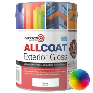 2.5ltr Zinsser Allcoat Multi Superficie Pittura Finitura Lucida Bianco No Primer