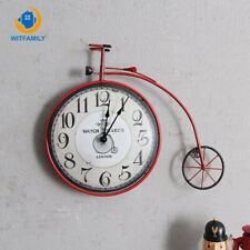Bicycle Wall Clock Retro Country Living Room Personalized Decor Hanging Watch