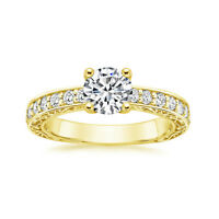 0.72 Ct Round Natural Diamond Engagement Ring Solid 18K Yellow Gold Size 5 6 7.5