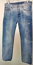 "Diesel  100% cotton ""Safado"" distressed denim  solid blue jeans size 28"