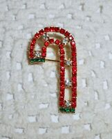 Vintage Pave Rhinestone Christmas Candy Cane Brooch Pin Gold Tone  C34