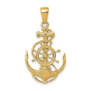14K Yellow Gold Medium Anchor w/ Wheel Pendant