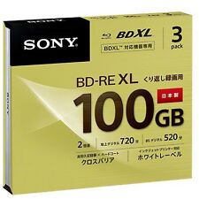 3 Sony Bluray Discs 100 GB BD-RE BDXL 2X Media 3D Inkjet Printable Sealed Case