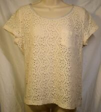 Women's Large Hollister Lace Front Short Sleeve Tee Gray Back Trim         A-6