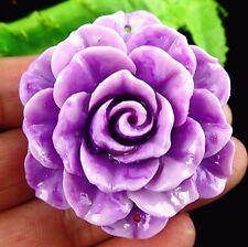 Beautiful purple Giant clam carved flower Pendant bead BA3374