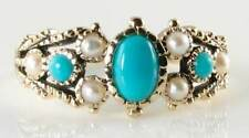 ENGLISH 9K 9CT GOLD TURQUOISE &  PEARL ART DECO INS RING FREE SIZE