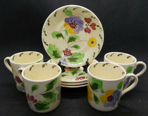 Set of Four Ridgways Hand Painted Bedford Ware Demitasse Cups and Saucers