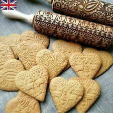 Christmas Embossing Pattern Wooden Dough Cookies Roller Xmas Baking