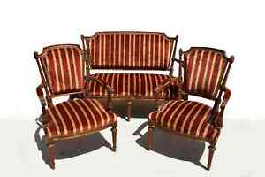 Antique French love Seat and Pair of Arm Chairs