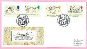 Royal Mail 1988 FDC - EDWARD LEAR Centenary - Shs KNOWSLEY, Liverpool