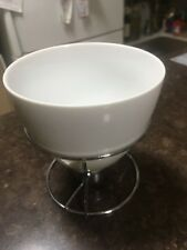 Small fondue set includes bowel with stand, candle, 4 small forks, as new