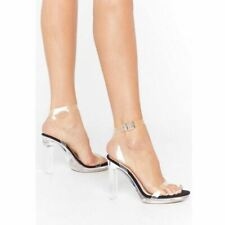 Womens Clear Perspex Strappy High Heels Sandals Glass Fashion Platforms Size New