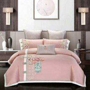 Duvet Cover Set 600TC Egyptian Cotton King Size Bedding Set Flat Bed Sheet Set