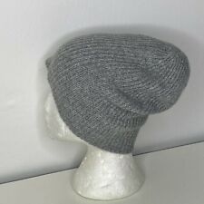 Amicale Women's Double Layer 100% Cashmere Ribbed Slouchy/Cuffed Beanie Gray OS