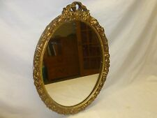 Vtg Old antique Wall Mirror Gold Ornate Oval Hollywood Regency Mid Century Decor