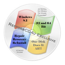 Windows 8.1 DVD All Versions 32 & 64 bit - Install, Recovery, Repair  w/HD Win 8