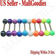 W066 Acrylic Tongue Rings Barbell Spiral Spinning Swirl Design 10pcs 10 colors