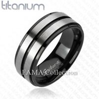 Top Quality FAMA Solid TITANIUM Brushed Double Stripe Center Band Ring Size 9-13