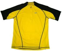 Louis Garneau LG Mens Large Yellow Black 1/4 Zip Short Sleeve Cycling Jersey