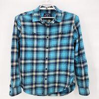 AMERICAN EAGLE Mens Prep Fit Blue Plaid Flannel Shirt Button Up Cotton Sz L