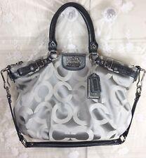 Coach Madison Silver Gray Op Art Sophia Shoulder Tote Bag Purse - 18650