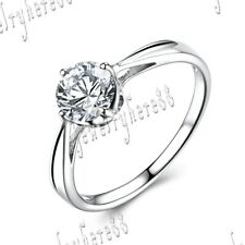 Round 6mm Cubic Zirconia Prong Setting Engagement Wedding Sterling Silver Ring