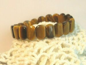 "New Bracelet of Natural Golden Tiger Eye Stretch Small 6-7"""