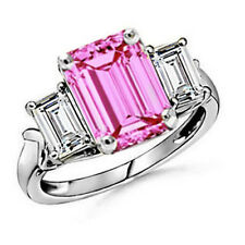 7.25CT WOMENS THREE STONE ENGAGEMENT WG SOLID PINK SAPPHIRE 14K RING SIZE 7