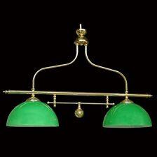 BILANCIERE LAMPADARIO IN OTTONE LUCIDO A 2 LUCI VETRO VERDE COLL. BGA 1286