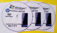 HP Pavilion p6716f Factory Recovery Media 3-Discs Set / Windows 7 Home 64bit