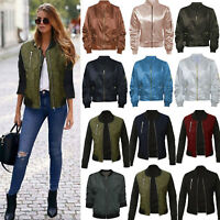 Women Classic Padded Bomber Jacket Vintage Zip Biker Coat Tops Stylish Outerwear