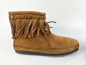 Minnetonka Suede Leather Mocassin Boots Uk 6