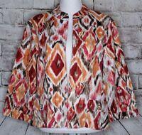 Chicos Size 3 Open Front Jacket Blazer Linen Ikat Red Orange Brown 3/4 Sleeve