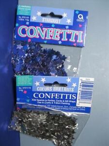 LOT 2 STARDUST (Star design)1/2 oz Foil Metallic BLUE/SILVER Color Confetti 100s