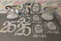 Bundle 10 x 25th Silver Wedding Anniversary Foil Wall/Table Party Decorations