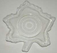 Vintage Clear Glass Leaf Shaped Plate Lunch Dish Beaded LE Smith