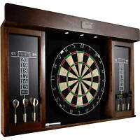40 Inch Dartboard Cabinet Game Room Play Sports with LED Home Fun Party Board
