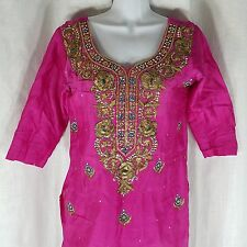 Shalwar Kameez Bollywood Tunic M Pink Gold Metallic Embroidered Beaded Indian