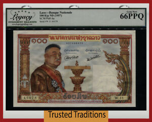 TT PK 6a 1957 LAOS 100 KIP BANQUE NATIONALE LCG 66 PPQ GEM NEW OVERSIZE BEAUT!
