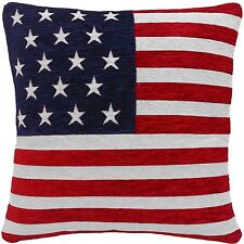 "4 X STARS AND STRIPES AMERICAN FLAG CHENILLE RED WHITE BLUE 18"" CUSHION COVER"