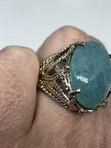 Vintage Green Jade Ring 925 Sterling Silver Size 6