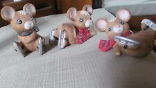 Vintage Homco Christmas Ice Skating Mice Porcelain Figurines set of 3 pcs #5113