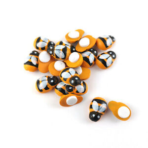 Wood Cabochons Yellow/Black Bee 9 x 12mm Pack Of 20