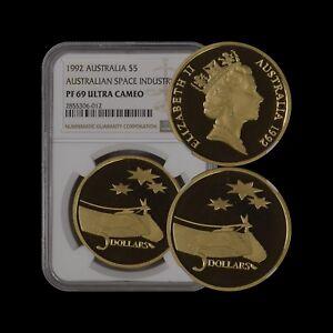 AUSTRALIA. 1992, 5 Dollars - NGC PF69 - TOP POP 🥇 Space Industry RARE