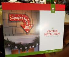 "New X-Mas LIT Vintage Metal Sign Christmas SANTA STOP HERE Lighted Sign 19.5x24"""