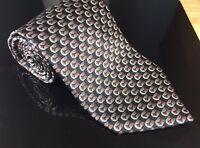 Men's Valentino Cravatte Italy Silver Circle Flower Square Geo 100% Silk Tie