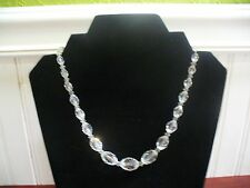 "Vintage Estate Jewelry Faceted Clear Crystal Oval Bead 17.5"" Necklace"